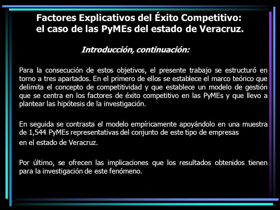 Factores Explicativos del Éxito Competitivo: el caso de las PyMEs del estado de Veracruz. Introducción, continuación: Para la consecución de estos obj