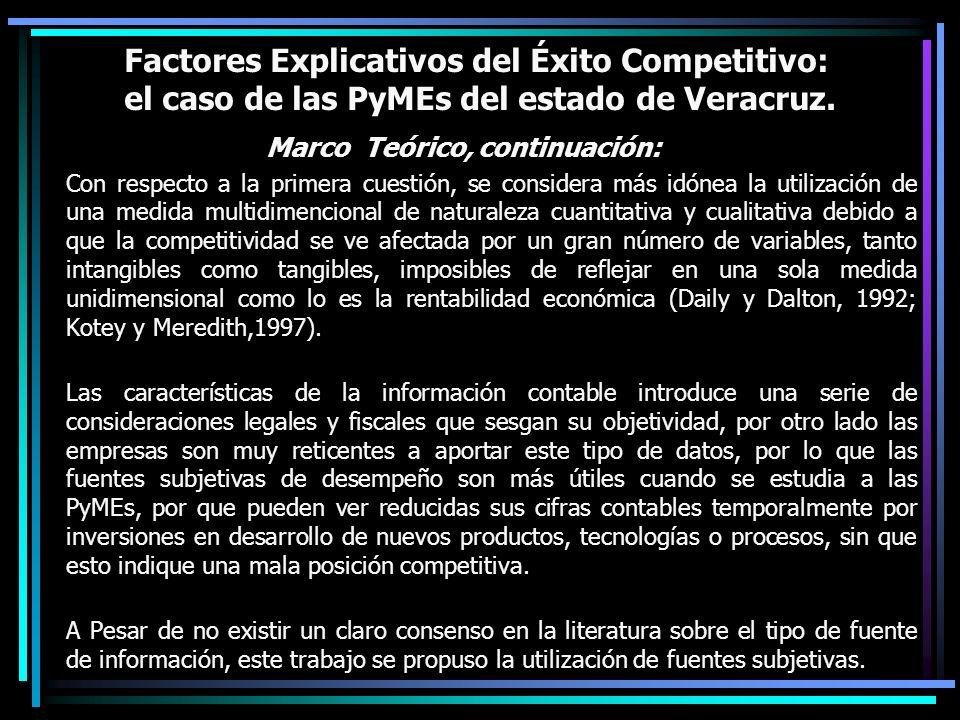 Factores Explicativos del Éxito Competitivo: el caso de las PyMEs del estado de Veracruz. Marco Teórico, continuación: Con respecto a la primera cuest