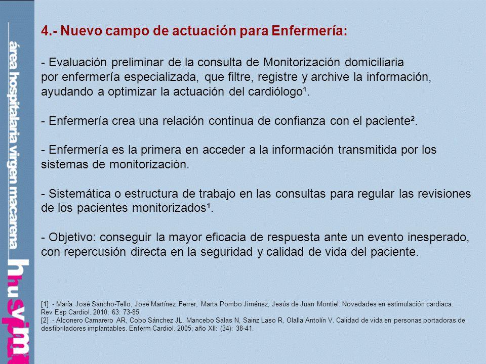4.- Nuevo campo de actuación para Enfermería: - Evaluación preliminar de la consulta de Monitorización domiciliaria por enfermería especializada, que