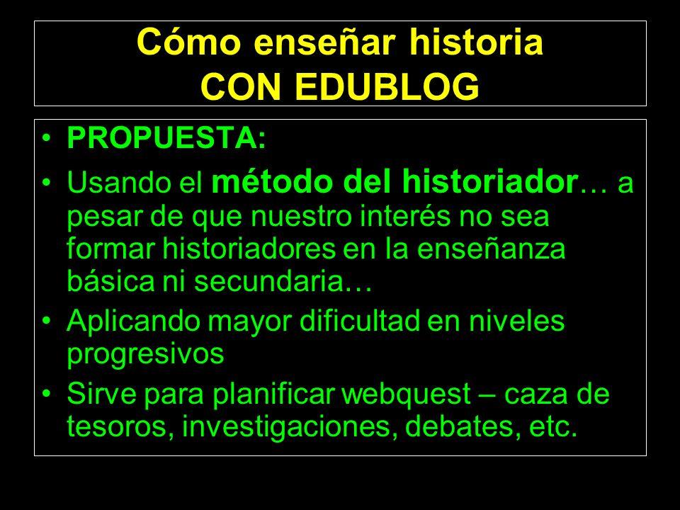 Cómo enseñar historia CON EDUBLOG PROPUESTA: Usando el método del historiador … a pesar de que nuestro interés no sea formar historiadores en la enseñ