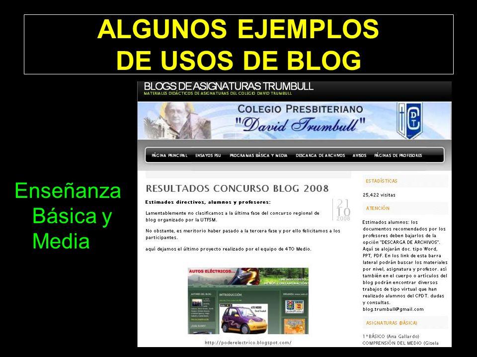 ALGUNOS EJEMPLOS DE USOS DE BLOG Enseñanza Básica y Media