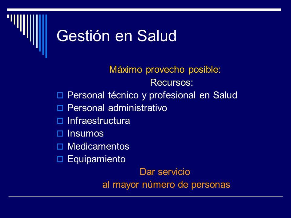 Gestión en Salud Máximo provecho posible: Recursos: Personal técnico y profesional en Salud Personal administrativo Infraestructura Insumos Medicament