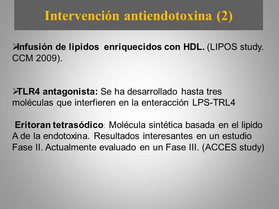 Intervención antiendotoxina (2) Infusión de lipidos enriquecidos con HDL. (LIPOS study. CCM 2009). TLR4 antagonista: Se ha desarrollado hasta tres mol