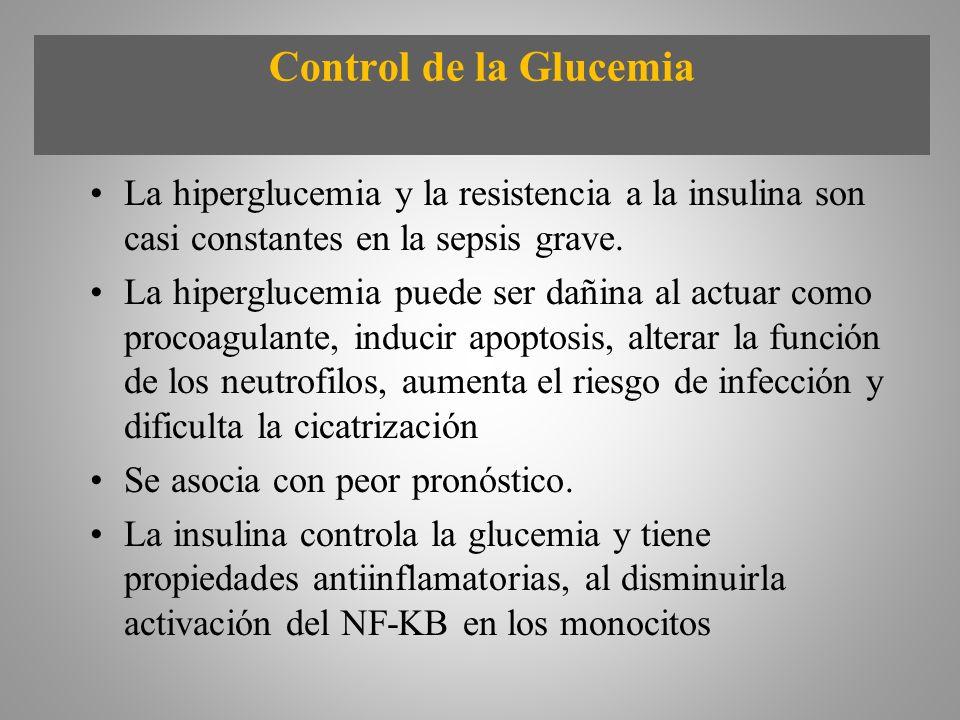 Control de la Glucemia La hiperglucemia y la resistencia a la insulina son casi constantes en la sepsis grave. La hiperglucemia puede ser dañina al ac