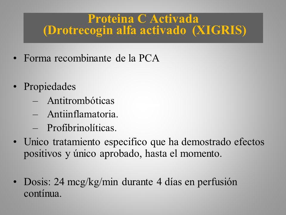Proteina C Activada (Drotrecogin alfa activado (XIGRIS) Forma recombinante de la PCA Propiedades –Antitrombóticas –Antiinflamatoria. –Profibrinolítica