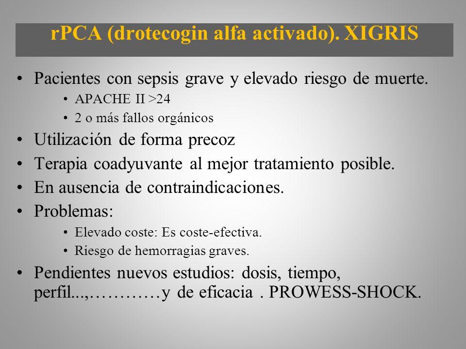 rPCA (drotecogin alfa activado). XIGRIS Pacientes con sepsis grave y elevado riesgo de muerte. APACHE II >24 2 o más fallos orgánicos Utilización de f