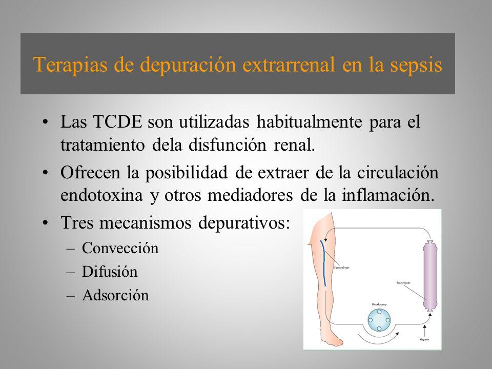 Terapias de depuración extrarrenal en la sepsis Las TCDE son utilizadas habitualmente para el tratamiento dela disfunción renal. Ofrecen la posibilida