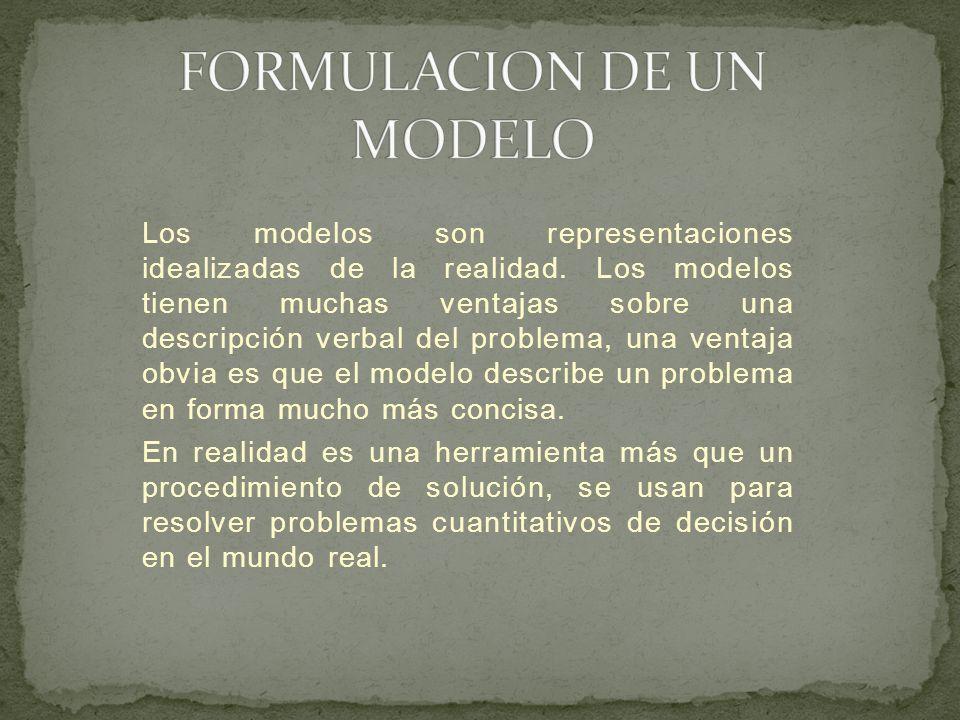 Los modelos son representaciones idealizadas de la realidad. Los modelos tienen muchas ventajas sobre una descripción verbal del problema, una ventaja