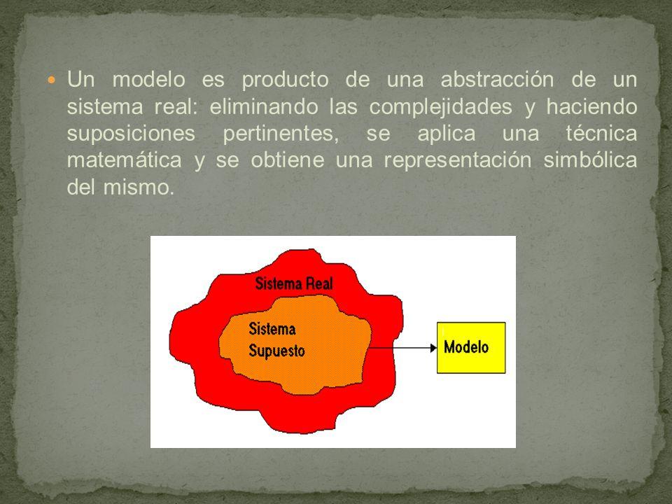 Un modelo es producto de una abstracción de un sistema real: eliminando las complejidades y haciendo suposiciones pertinentes, se aplica una técnica m