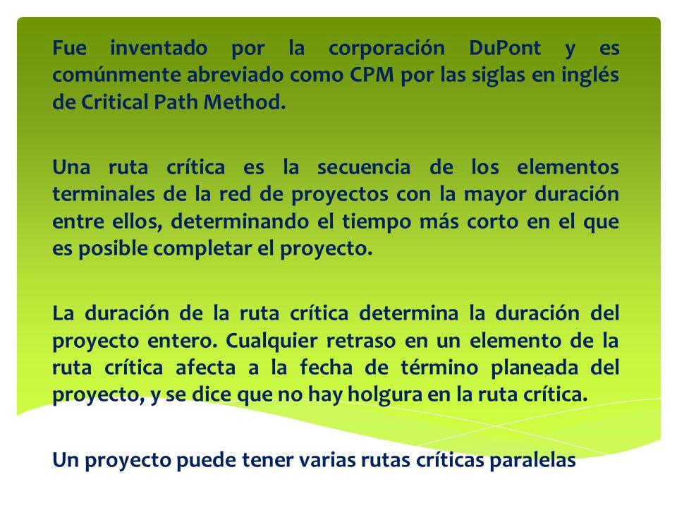 Fue inventado por la corporación DuPont y es comúnmente abreviado como CPM por las siglas en inglés de Critical Path Method. Una ruta crítica es la se