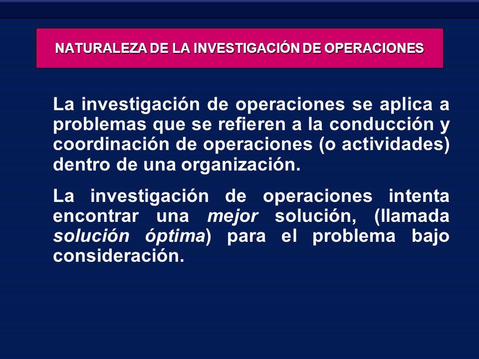 NATURALEZA DE LA INVESTIGACIÓN DE OPERACIONES La investigación de operaciones se aplica a problemas que se refieren a la conducción y coordinación de