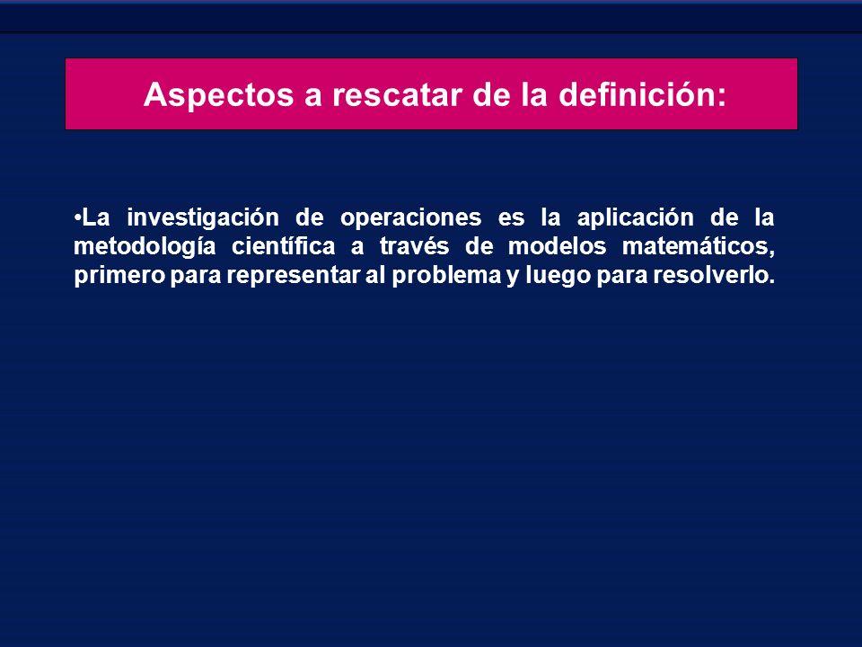 Aspectos a rescatar de la definición: La investigación de operaciones es la aplicación de la metodología científica a través de modelos matemáticos, p