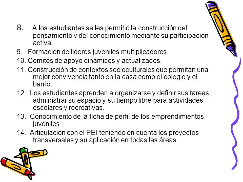 8. A los estudiantes se les permitió la construcción del pensamiento y del conocimiento mediante su participación activa. 9. Formación de lideres juve