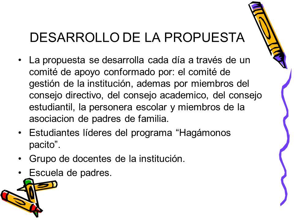 DESARROLLO DE LA PROPUESTA La propuesta se desarrolla cada día a través de un comité de apoyo conformado por: el comité de gestión de la institución,