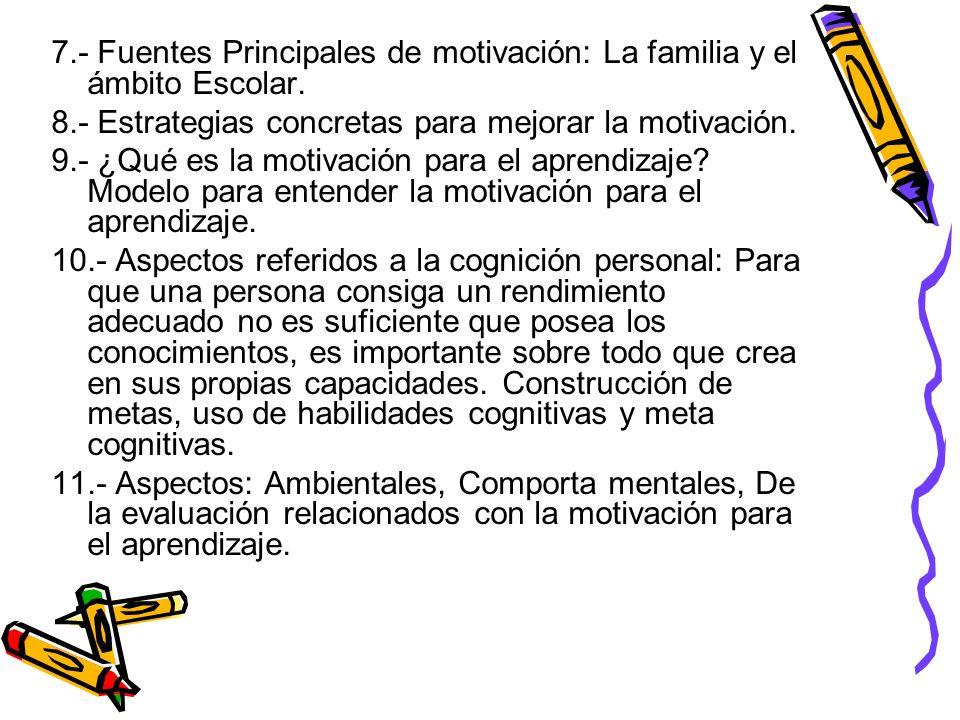 7.- Fuentes Principales de motivación: La familia y el ámbito Escolar. 8.- Estrategias concretas para mejorar la motivación. 9.- ¿Qué es la motivación