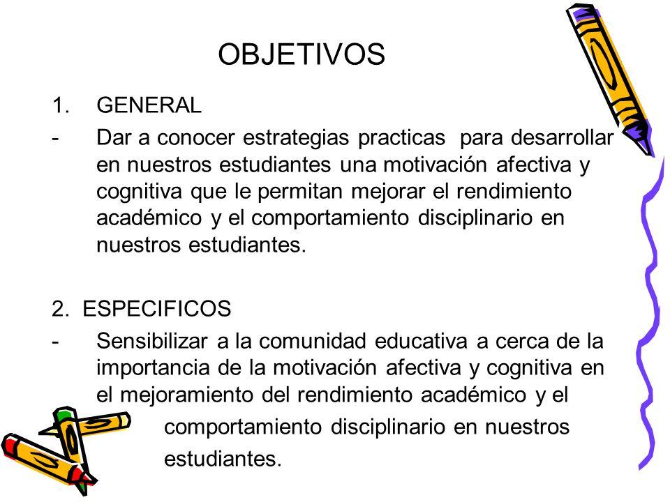OBJETIVOS 1.GENERAL -Dar a conocer estrategias practicas para desarrollar en nuestros estudiantes una motivación afectiva y cognitiva que le permitan