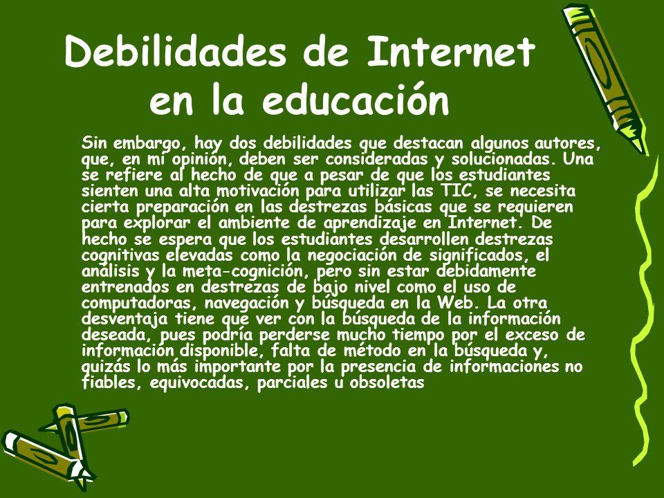 Marqués Graells (2004), también menciona algunas ventajas del uso de las TIC en la educación. Ellas son: (a) es de alto interés y motivación para el e
