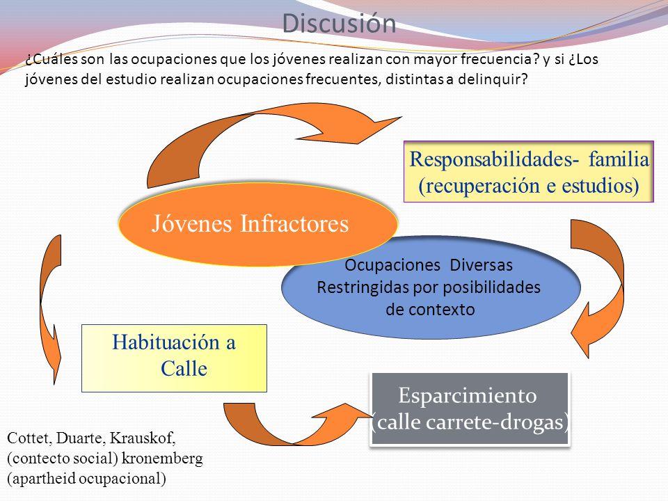 Discusión Habituación a Calle Esparcimiento (calle carrete-drogas) Esparcimiento (calle carrete-drogas) Responsabilidades- familia (recuperación e est