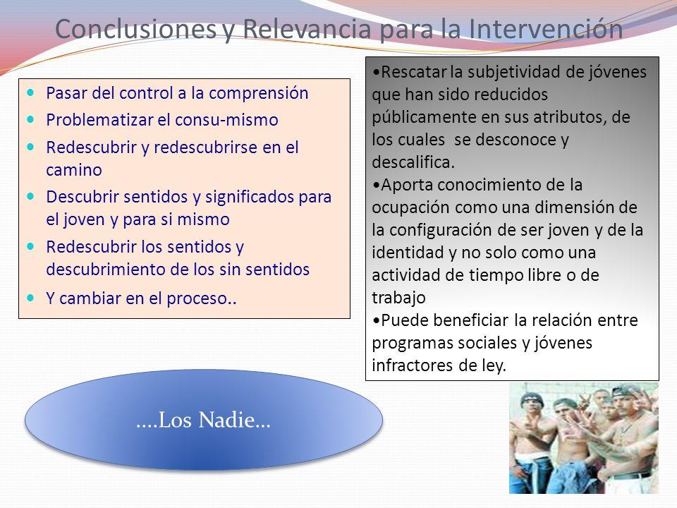 Conclusiones y Relevancia para la Intervención Pasar del control a la comprensión Problematizar el consu-mismo Redescubrir y redescubrirse en el camin