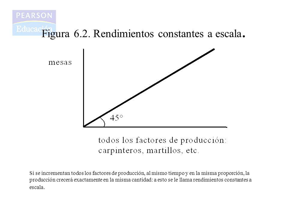 Figura 6.2. Rendimientos constantes a escala. Si se incrementan todos los factores de producción, al mismo tiempo y en la misma proporción, la producc