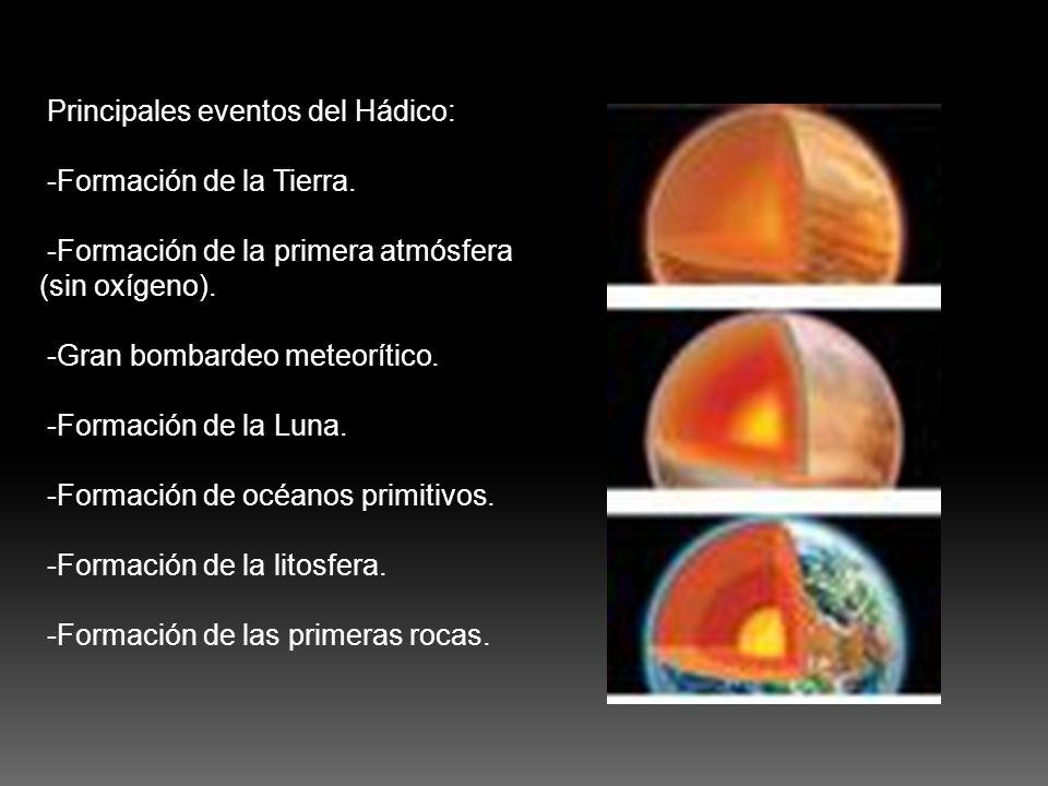 Principales eventos del Hádico: -Formación de la Tierra. -Formación de la primera atmósfera (sin oxígeno). -Gran bombardeo meteorítico. -Formación de