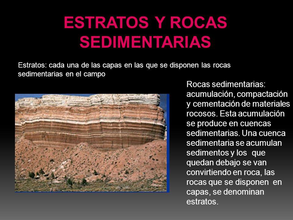 Rocas sedimentarias: acumulación, compactación y cementación de materiales rocosos. Esta acumulación se produce en cuencas sedimentarias. Una cuenca s