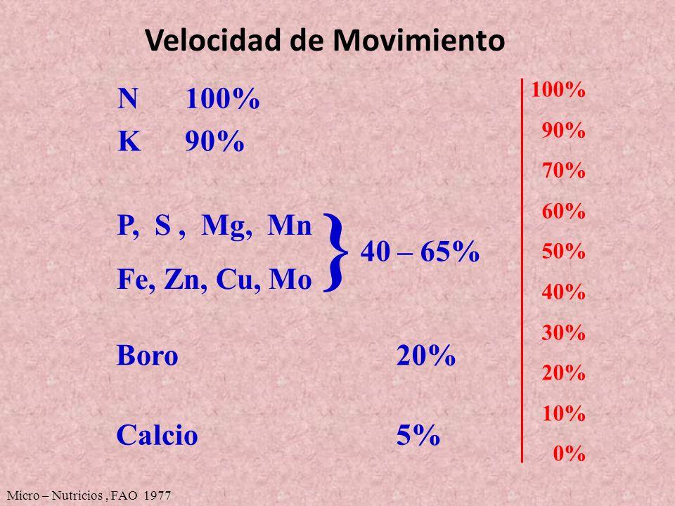 Velocidad de Movimiento 100% 90% 70% 60% 50% 40% 30% 20% 10% 0% P, S, Mg, Mn Fe, Zn, Cu, Mo 40 – 65% } Boro20% N100% K90% Calcio5% Micro – Nutricios,