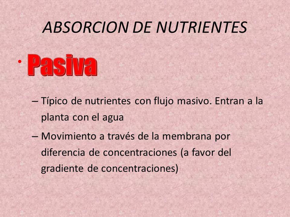 ABSORCION DE NUTRIENTES – Típico de nutrientes con flujo masivo. Entran a la planta con el agua – Movimiento a través de la membrana por diferencia de