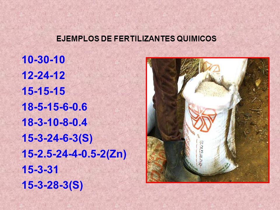 EJEMPLOS DE FERTILIZANTES QUIMICOS 10-30-10 12-24-12 15-15-15 18-5-15-6-0.6 18-3-10-8-0.4 15-3-24-6-3(S) 15-2.5-24-4-0.5-2(Zn) 15-3-31 15-3-28-3(S)