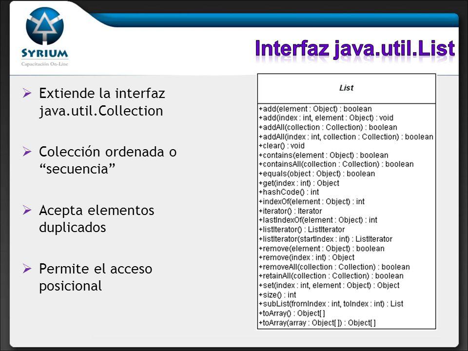 Extiende la interfaz java.util.Collection Colección ordenada o secuencia Acepta elementos duplicados Permite el acceso posicional