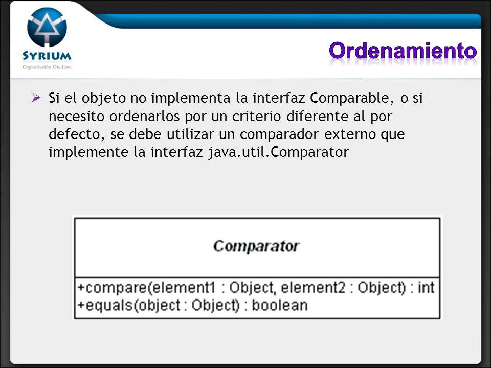 Si el objeto no implementa la interfaz Comparable, o si necesito ordenarlos por un criterio diferente al por defecto, se debe utilizar un comparador e