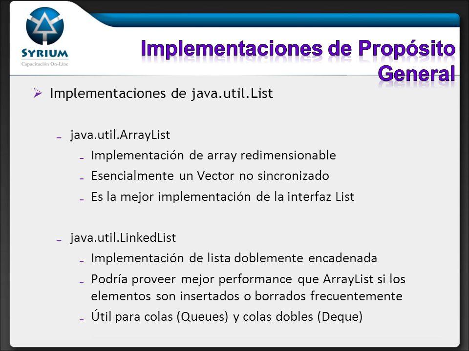 Implementaciones de java.util.List java.util.ArrayList Implementación de array redimensionable Esencialmente un Vector no sincronizado Es la mejor imp