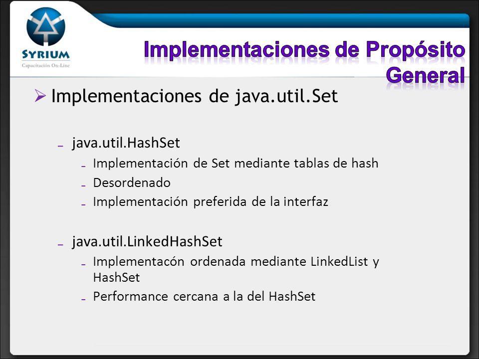 Implementaciones de java.util.Set java.util.HashSet Implementación de Set mediante tablas de hash Desordenado Implementación preferida de la interfaz