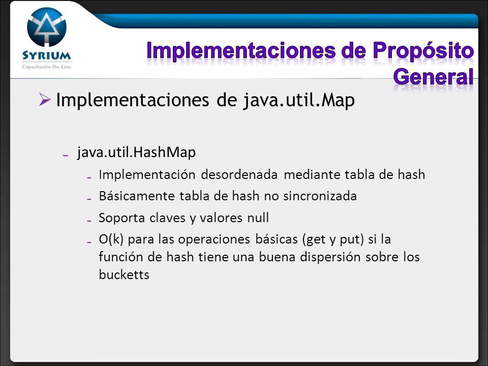 Implementaciones de java.util.Map java.util.HashMap Implementación desordenada mediante tabla de hash Básicamente tabla de hash no sincronizada Soport