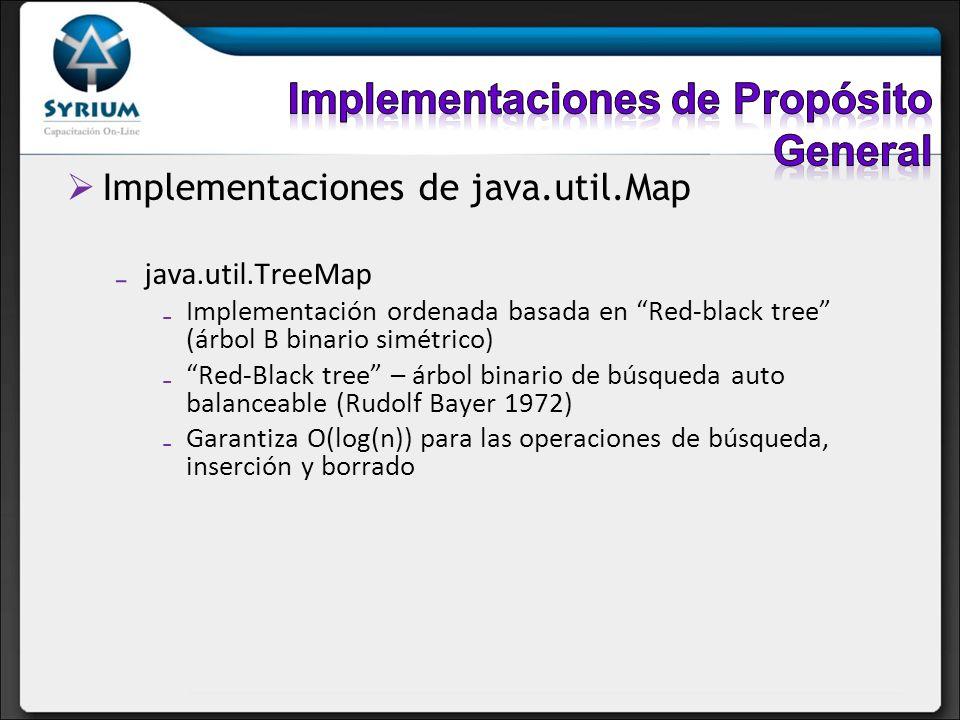 Implementaciones de java.util.Map java.util.TreeMap Implementación ordenada basada en Red-black tree (árbol B binario simétrico) Red-Black tree – árbo