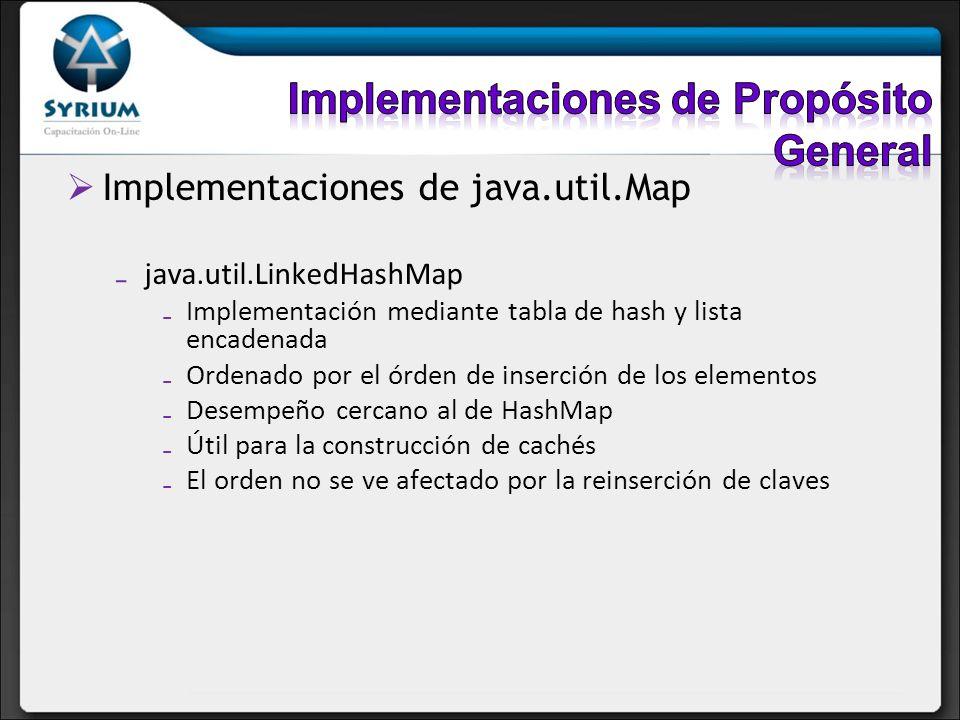 Implementaciones de java.util.Map java.util.LinkedHashMap Implementación mediante tabla de hash y lista encadenada Ordenado por el órden de inserción
