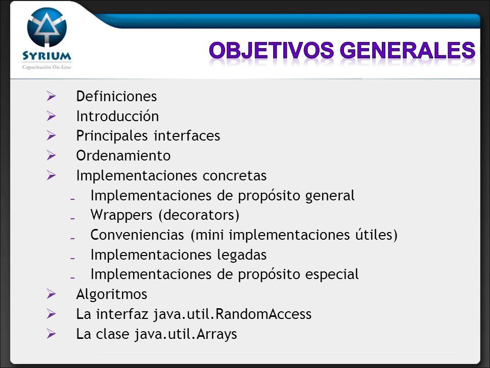 Definiciones Introducción Principales interfaces Ordenamiento Implementaciones concretas Implementaciones de propósito general Wrappers (decorators) C