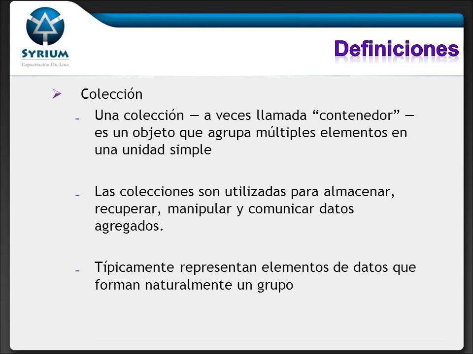 Colección Una colección a veces llamada contenedor es un objeto que agrupa múltiples elementos en una unidad simple Las colecciones son utilizadas par