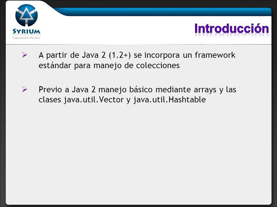 A partir de Java 2 (1.2+) se incorpora un framework estándar para manejo de colecciones Previo a Java 2 manejo básico mediante arrays y las clases jav