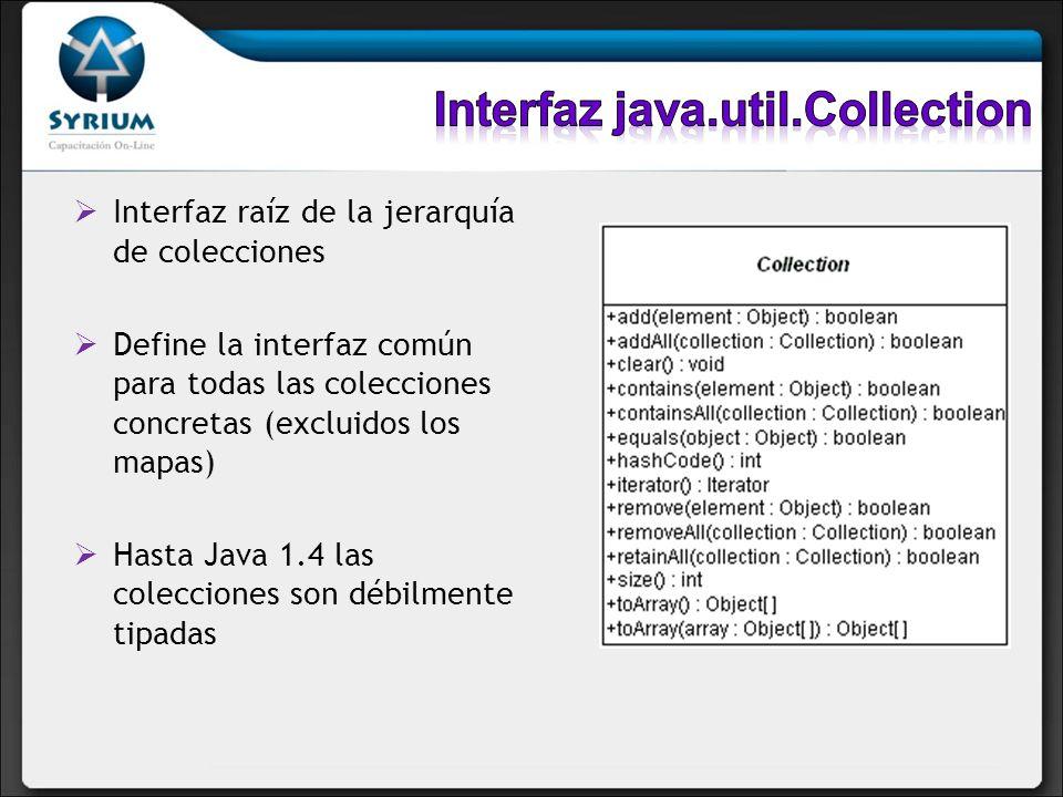 Interfaz raíz de la jerarquía de colecciones Define la interfaz común para todas las colecciones concretas (excluidos los mapas) Hasta Java 1.4 las co