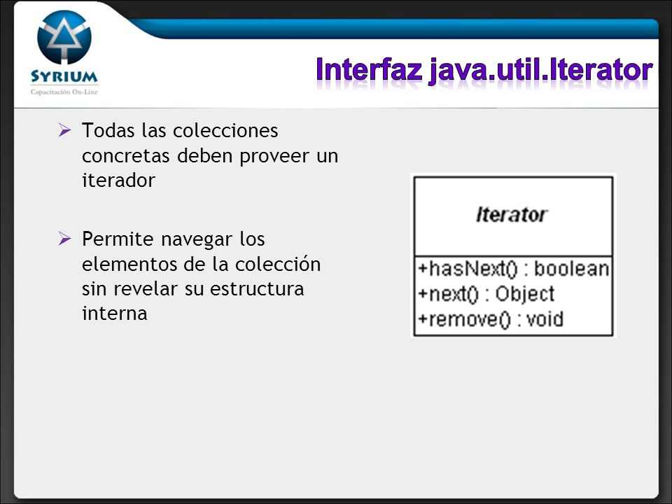 Extiende de la interfaz java.util.Collection No admite elementos duplicados No agrega nuevos métodos a la interfaz Ordenado o desordenado
