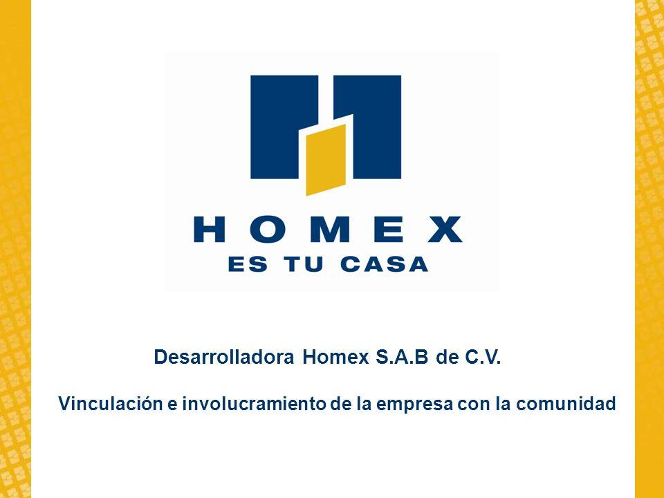 Vinculación e involucramiento de la empresa con la comunidad Desarrolladora Homex S.A.B de C.V.