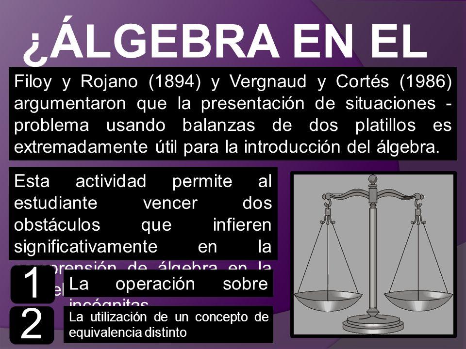 ¿ÁLGEBRA EN EL MERCADO? Filoy y Rojano (1894) y Vergnaud y Cortés (1986) argumentaron que la presentación de situaciones - problema usando balanzas de
