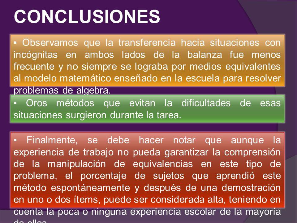 CONCLUSIONES Observamos que la transferencia hacia situaciones con incógnitas en ambos lados de la balanza fue menos frecuente y no siempre se lograba