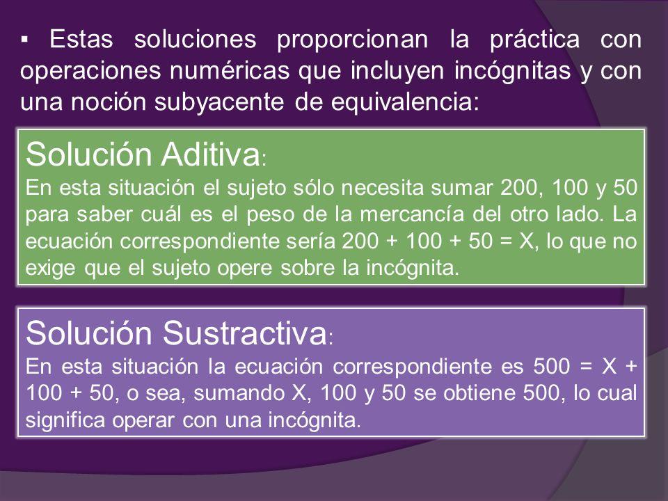 Estas soluciones proporcionan la práctica con operaciones numéricas que incluyen incógnitas y con una noción subyacente de equivalencia: Solución Adit