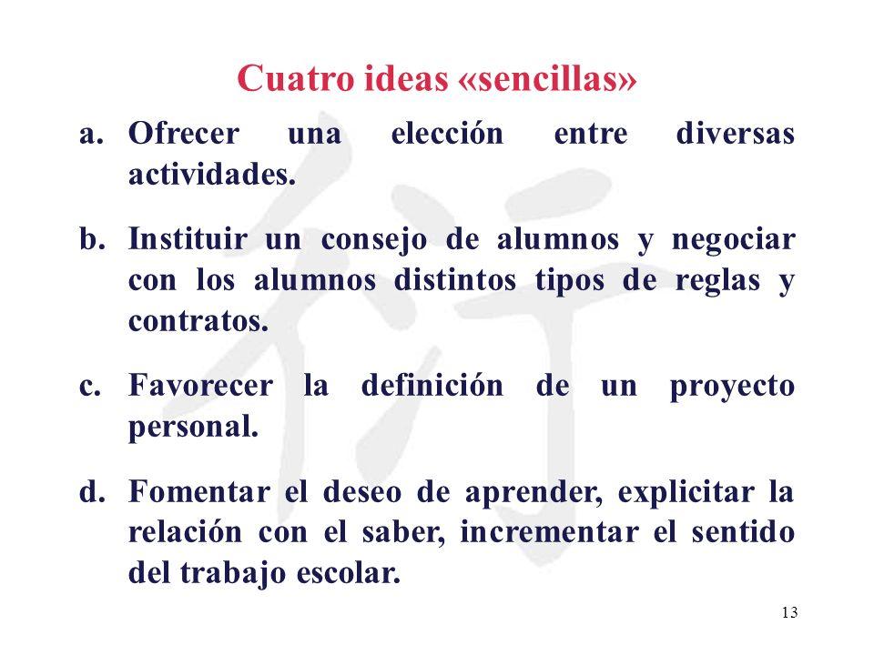13 Cuatro ideas «sencillas» a.Ofrecer una elección entre diversas actividades. b.Instituir un consejo de alumnos y negociar con los alumnos distintos