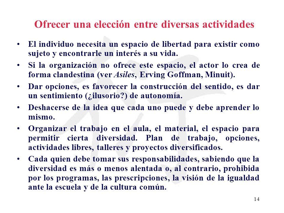 14 Ofrecer una elección entre diversas actividades El individuo necesita un espacio de libertad para existir como sujeto y encontrarle un interés a su