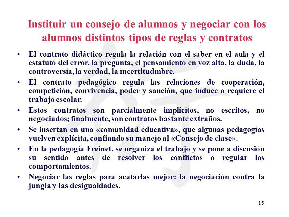 15 Instituir un consejo de alumnos y negociar con los alumnos distintos tipos de reglas y contratos El contrato didáctico regula la relación con el sa