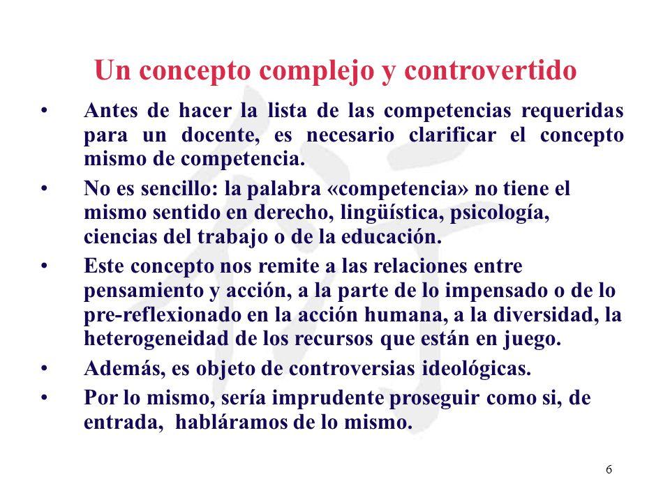 6 Un concepto complejo y controvertido Antes de hacer la lista de las competencias requeridas para un docente, es necesario clarificar el concepto mis