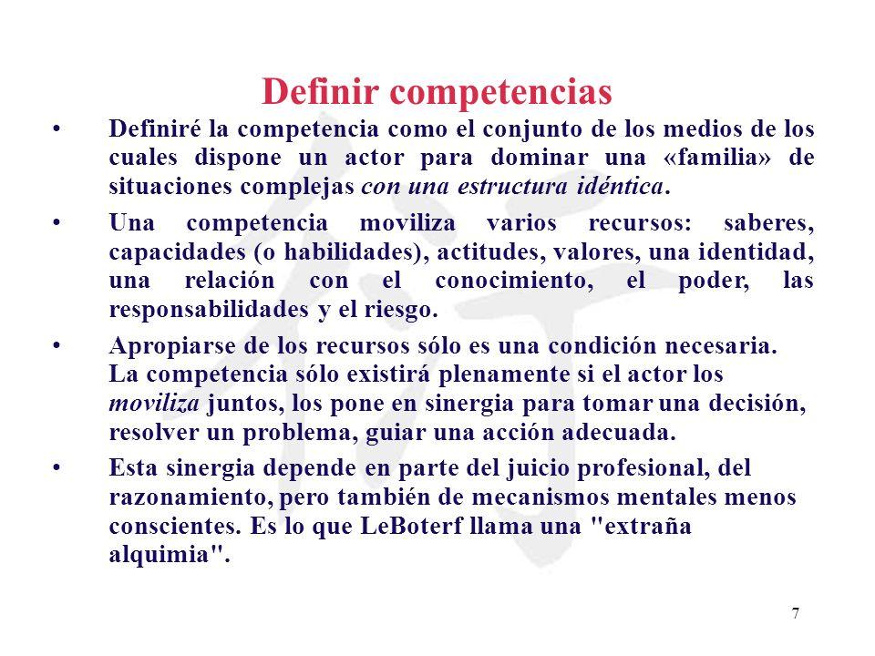 7 Definir competencias Definiré la competencia como el conjunto de los medios de los cuales dispone un actor para dominar una «familia» de situaciones